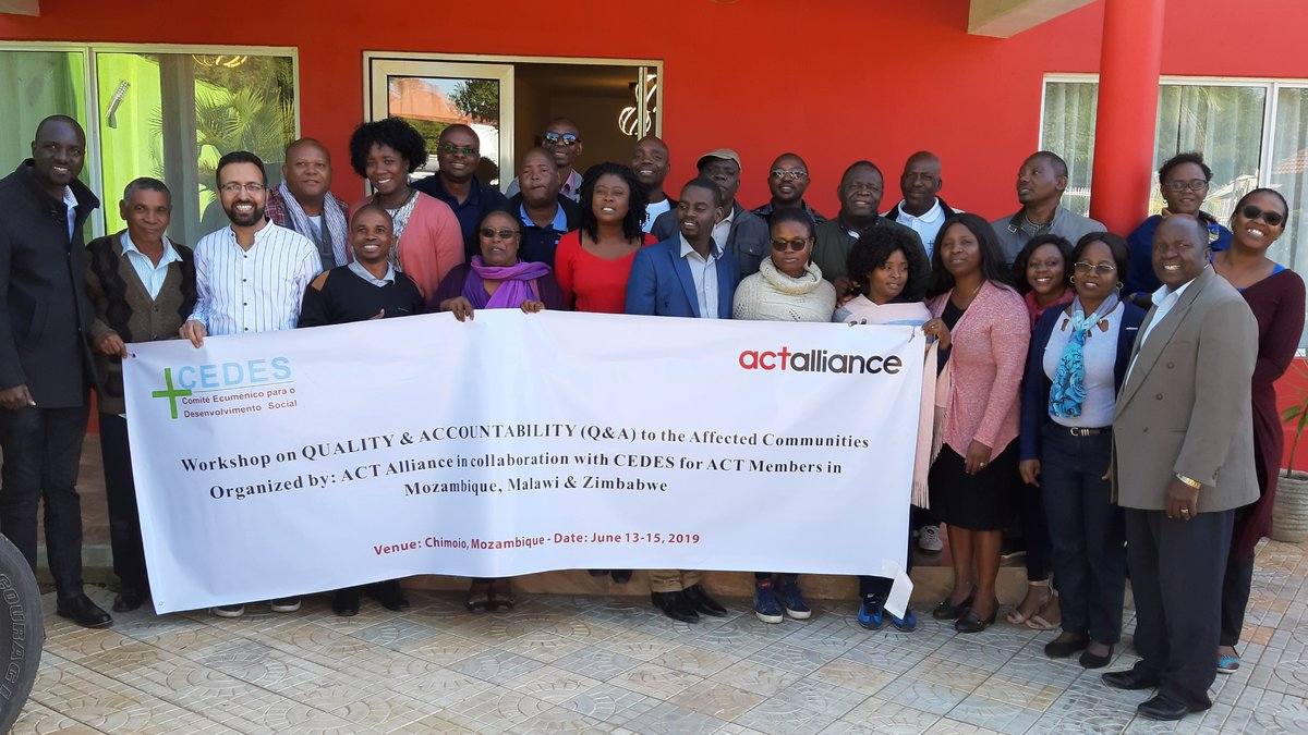 Its Group Photo of Regional Workshop on Quality & Accountability to support our members implementing the response to Cyclone IDAI, it was a capacity enhancement event at Mozambique in June 2019