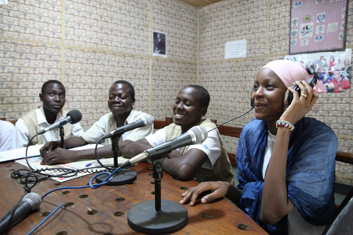 N'Djamena, Chad. Members of the UNICEF-supported 'Junior Reporters' club' during a radio show in a local radio station